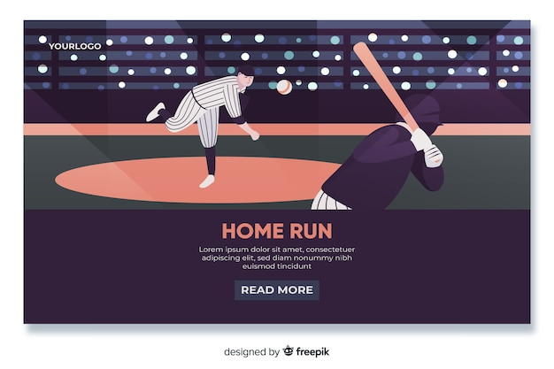 野球ランディングページフラットデザイン