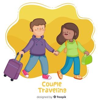 幸せなカップル旅行漫画スタイル