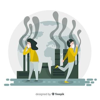汚染概念背景フラットデザイン