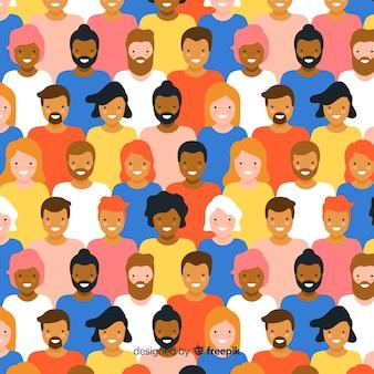 フラットデザインの若者の人々のパターン