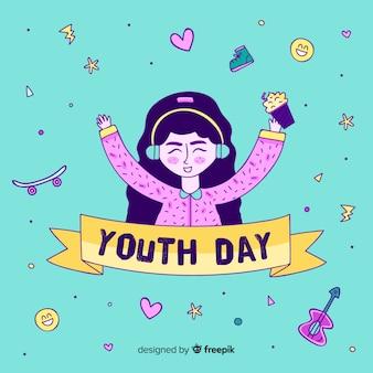 手描きデザインの若者の日の背景