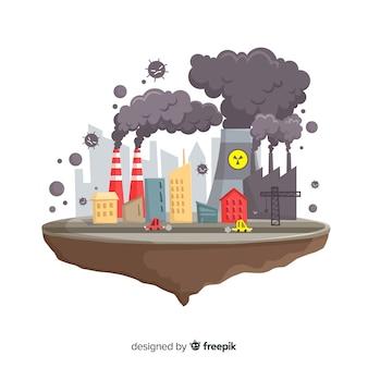 Загрязнение концепции фон плоский дизайн