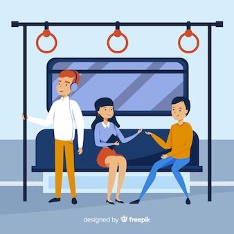 Люди на метро плоский дизайн