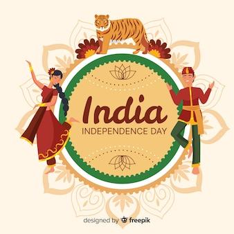 インドの独立記念日の背景フラットデザイン