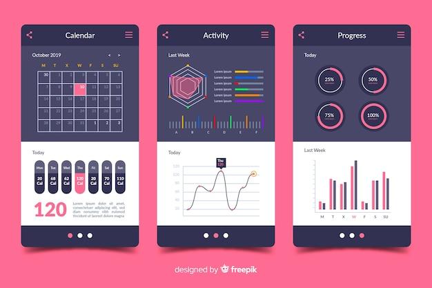 Плоский фитнес мобильное приложение инфографики