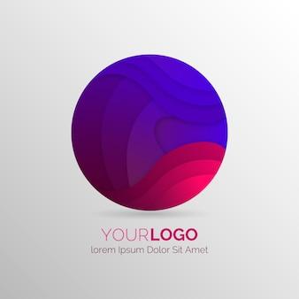 グラデーションの抽象的なロゴフラットデザイン