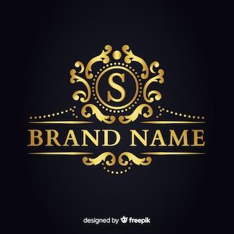 企業のための黄金のエレガントなロゴのテンプレート