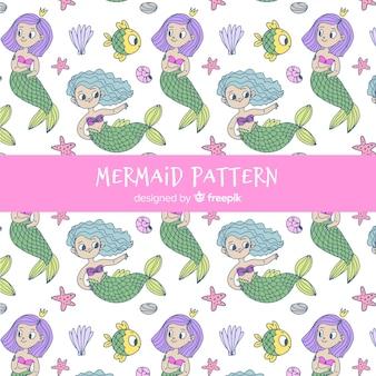 人魚パターン手描きスタイル