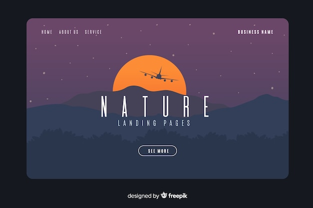 フラット自然ランディングページテンプレート