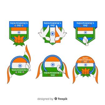 Плоская коллекция значка дня независимости индии