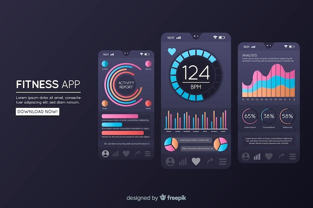 フラットフィットネス携帯アプリインフォグラフィック