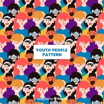 Плоский дизайн молодежных людей шаблон