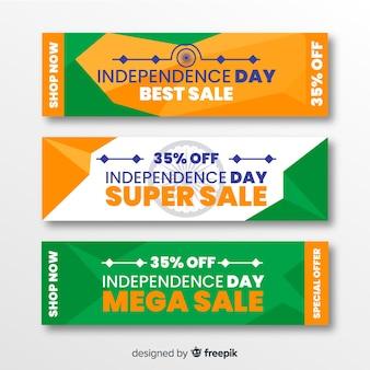 Плоские баннеры продажи дня независимости индии