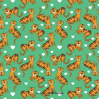 手描きの虎柄の背景