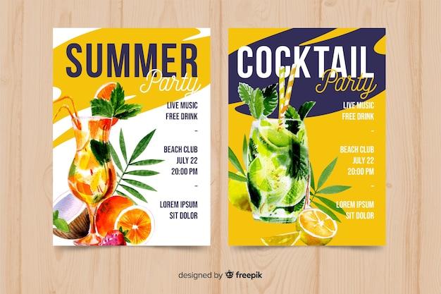 Акварель сезонный плакат шаблон коллекции