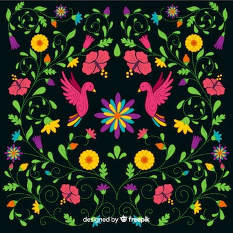刺繍カラフルなメキシコの花の背景