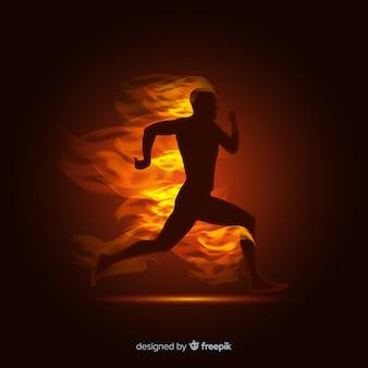 炎の背景で男ランナー