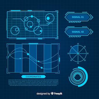 Футуристический синий инфографики элемент коллекции
