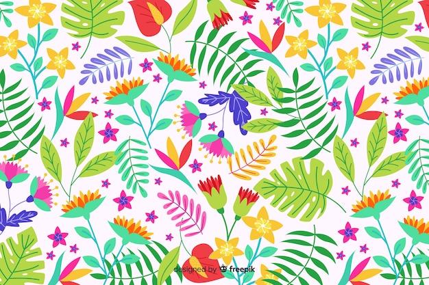 カラフルなエキゾチックな花と自然の背景