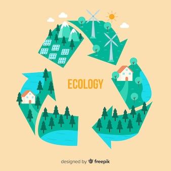 緑の野原とフラットリサイクルシンボル
