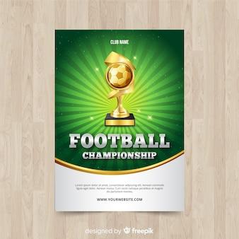 サッカーポスターのフラットテンプレート