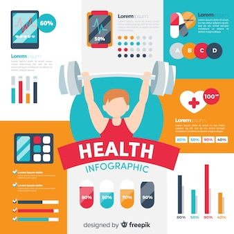 スポーツ選手の平らな健康インフォグラフィック