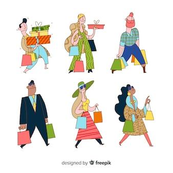 買い物袋を運ぶ手描きの人々