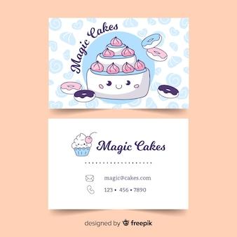 Шаблон визитной карточки в стиле каваий