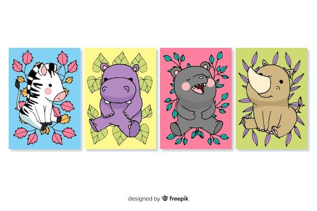 手描きの野生動物カードコレクション