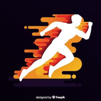 Бегущий человек на фоне пламени
