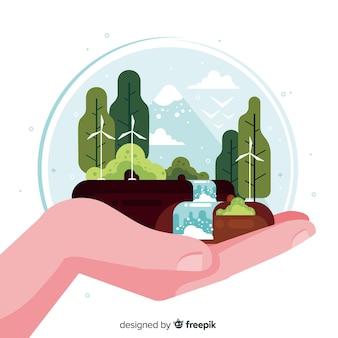 Ручной обращается пейзаж с водопадом