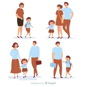 両親と一緒に平らな学校の子供たち