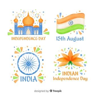 手描きインド独立記念日バッジコレクション