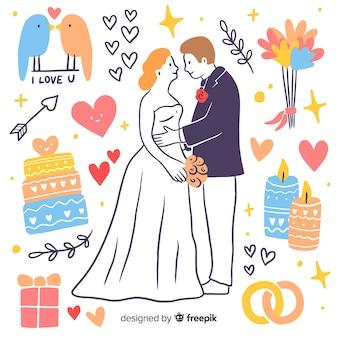 Ручной обращается свадьба пара с элементами