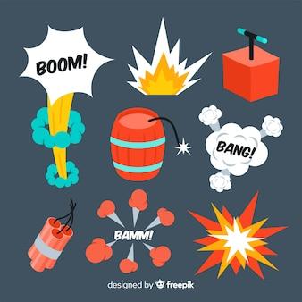 Коллекция эффектов взрыва мультфильм дизайн