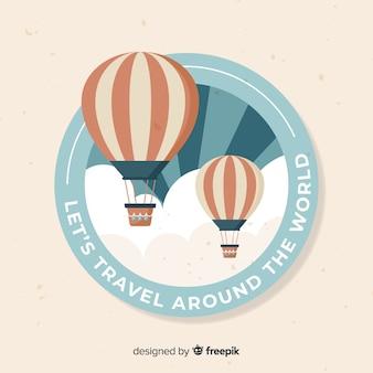 フラットデザインのビンテージ旅行ラベル