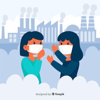 汚染に満ちた街に住んでいる人