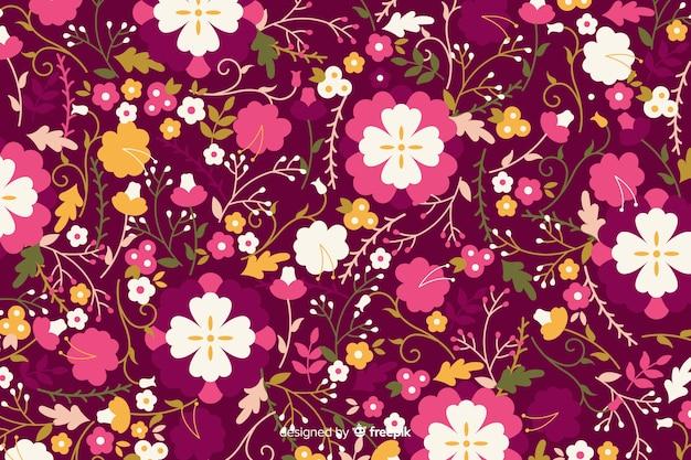 Плоский дизайн красочный цветочный фон