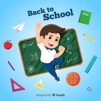 漫画の子供たちが学校の背景に戻る
