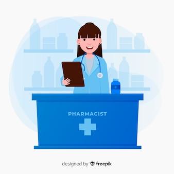 薬局コンセプトの背景フラットスタイル