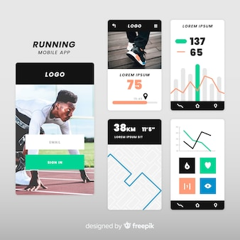 実行中のモバイルアプリのインフォグラフィックテンプレート
