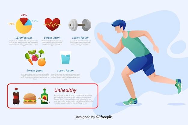 Плоский дизайн здоровья инфографики шаблон