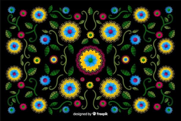 メキシコの花刺繍の装飾的な背景