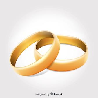 Реалистичные красивые золотые обручальные кольца