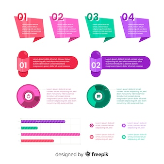 フラットデザインインフォグラフィック要素のコレクション