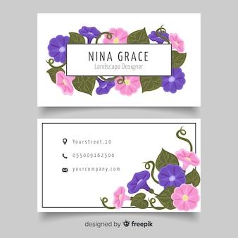 Ручной обращается цветочный шаблон визитной карточки