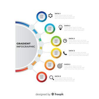 カラフルなインフォグラフィックグラデーションフラットデザイン