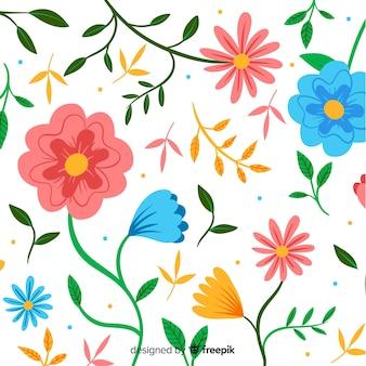 Цветочный декоративный фон плоский дизайн