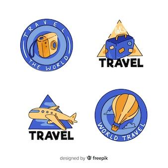 手描きの旅行ラベルのセット