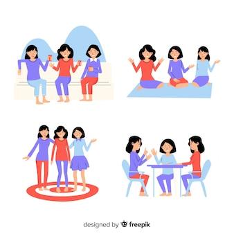 一緒に時間を過ごす友達の集まり